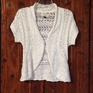 Sonoma Crochet White Open-Front Shrug Vest | S